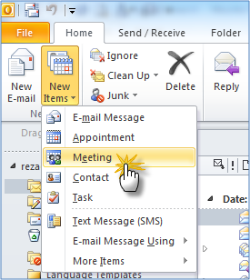 how to add live meeting to outlook 2010